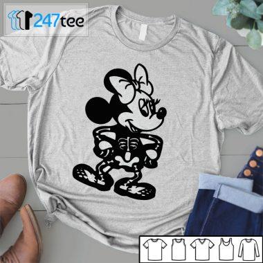 mickey minnie mouse skeleton Halloween white Shirt