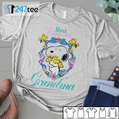 Grandma Peanuts Snoopy Woodstock 90s Most Huggable Halloween Shirt