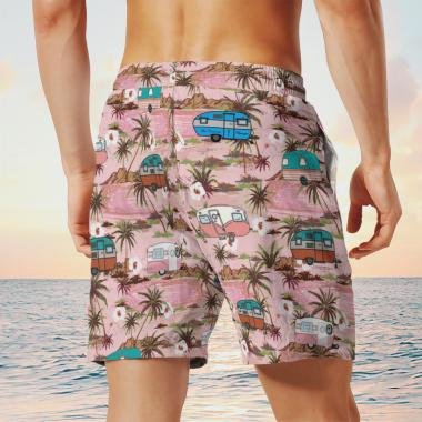 Camper Tropical Hawaiian Shirts, Beach Short