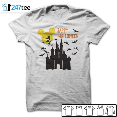 Mickey mouse moon witch bat flying above castle Halloween Shirts