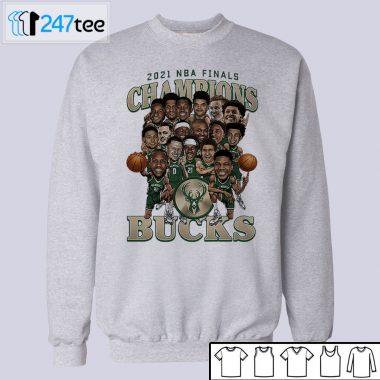 2021 NBA Champions Milwaukee Bucks Caricature Roster T-Shirt