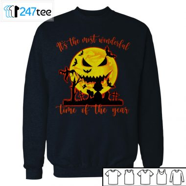 Peanut Snoopy Its The Most Woderful Time of Year under scary moon face Shirt