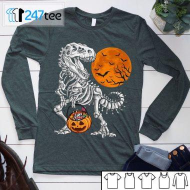 pumpkin Dinosaur Trex Skeleton Halloween Shirt