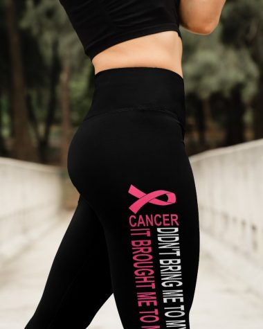 Breast Cancer Gift Didn't Bring Me To My Knees High Waist Leggings for girls, Best legging for Women