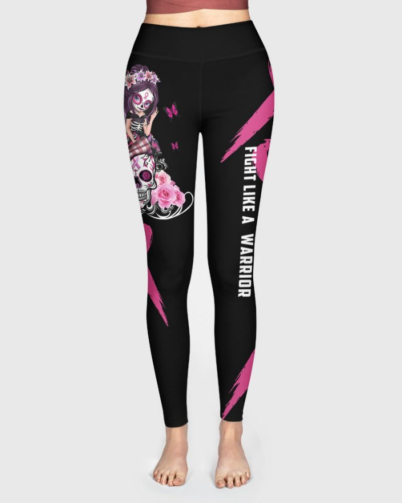 Breast Cancer Gift Fight Like A Warrior High Waist Leggings for girls, Best legging for Women