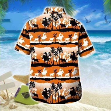 Calf Roping Orange Hawaiian Aloha Shirts, Beach Short