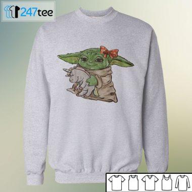 Baby Yoda Hug Unicorn mandalorian child Halloween Shirt