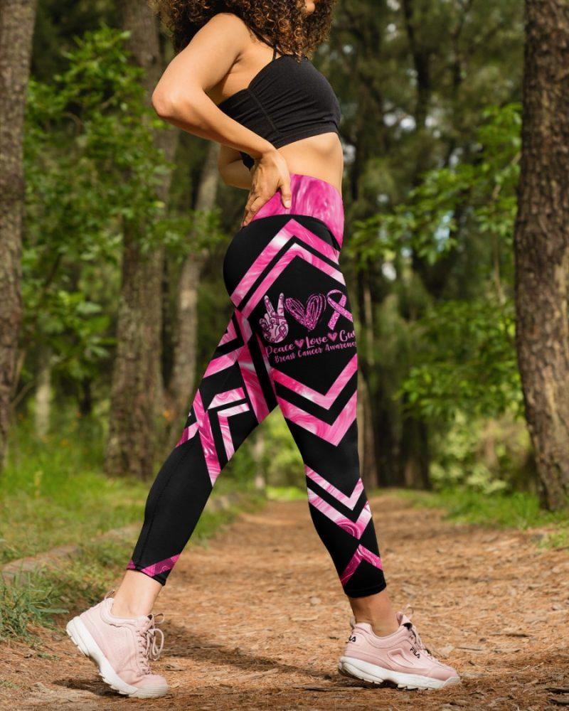 Peace Love Cure Breast Cancer Awareness High Waist Leggings for girls, Best legging for Women