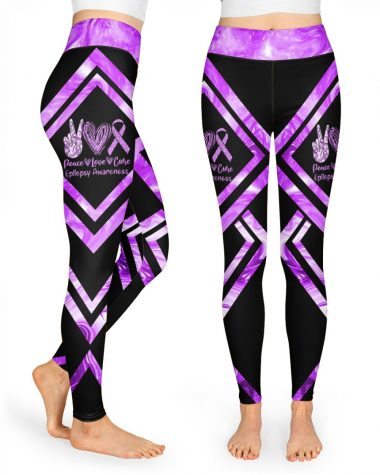 Peace Love Cure Epilepsy Awareness High Waist Leggings for girls, Best legging for Women