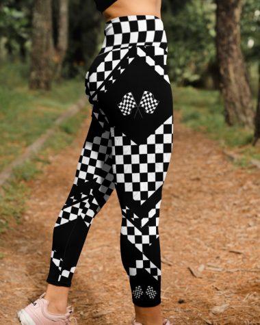 Racer Gift Racing Flags High Waist Leggings