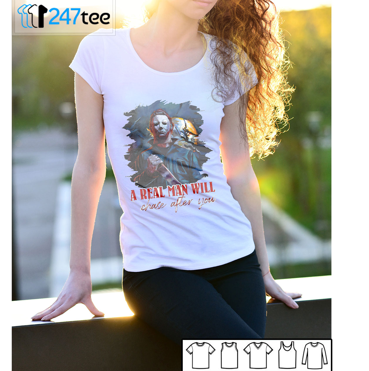 Michael Myers A Real Man Will Chase After You Halloween T-shirt
