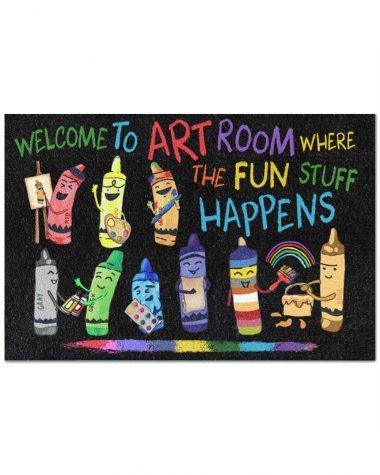 Art Room doormat - Welcome to art room where The Fun stuff happens Doormat