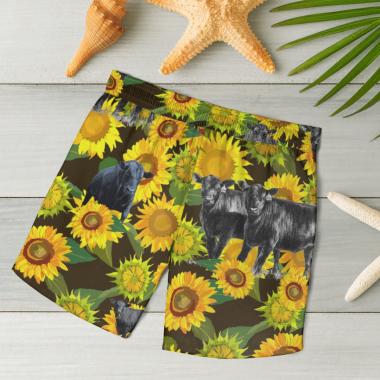 Black Angus Cattle Loves Hawaiian Shirts, Beach Short