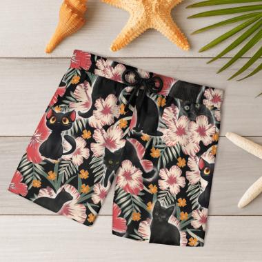Black Cat Hawaiian Shirts, Beach Short