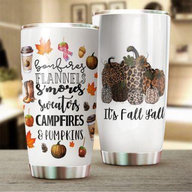 Bonfires Flannels S'mores Sweaters Campfires & Pumpkins tumbler