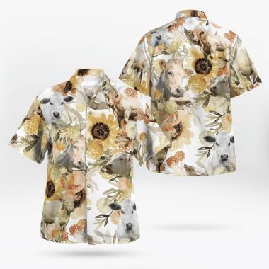 Charolais Cattle Loves Hawaiian Shirts, Beach Short