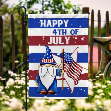 Gnome Happy 4th Of July With American Flag Garden Flag House Flag Wall Flag