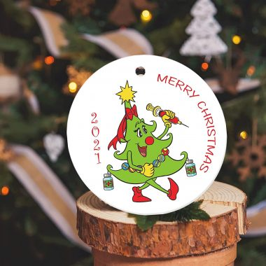 2021 Merry Christmas Tree Injection Ornament Ceramic 1