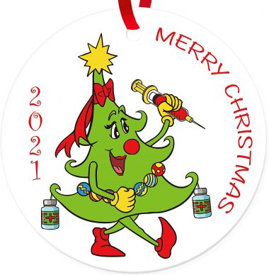 2021 Merry Christmas Tree Injection Ornament Ceramic