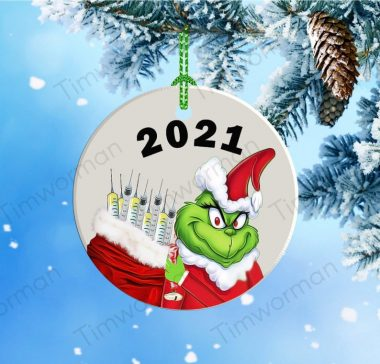 2021 The Grinch Christmas coronavirus vaccine mask Ornament