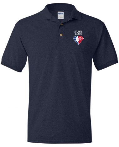 Navy Polo Shirt Atlanta Hawks NBA 75th Anniversary Polo Shirt