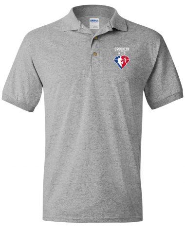 Sport grey polo Shirt Brooklyn Nets NBA 75th Anniversary Polo Shirt