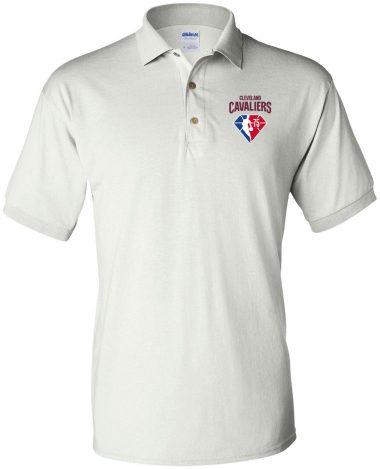 White polo Shirt Cleveland Cavaliers NBA 75th Anniversary Polo Shirt