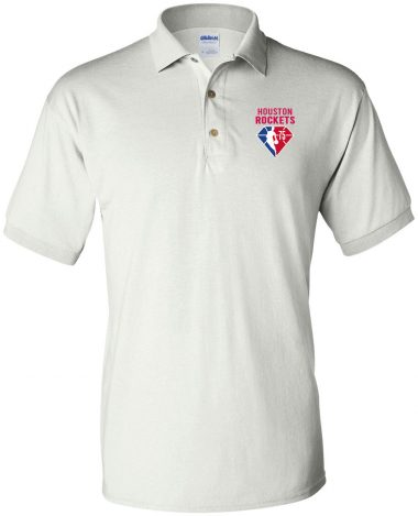 White polo Shirt Houston Rockets NBA 75th Anniversary Polo Shirt